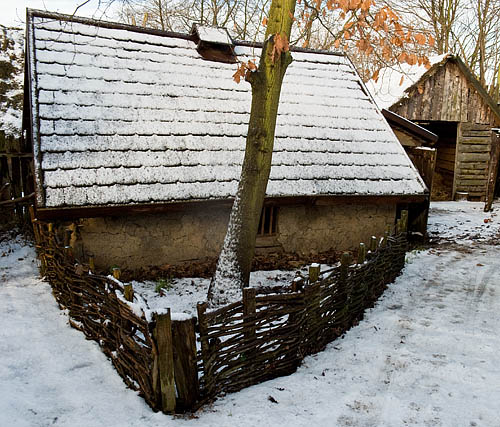 Danelaw Viking Village, Our house in snow. - © 2017 - Gary Waidson - Ravenlore